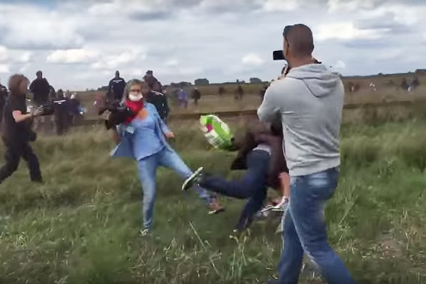 Camerawoman fired after tripping fleeing Syrian refugees