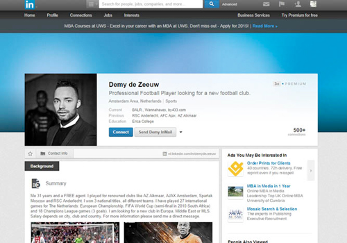 Former Dutch international footballer Demy de Zeeuw uses LinkedIn to search for new club