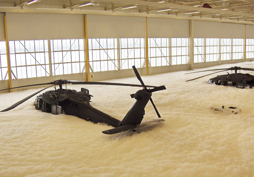 Safety contractor buries million-dollar helicopters in foam