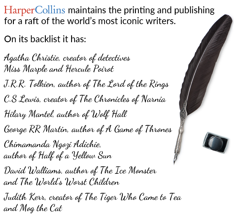 HarperCollins' historic writers