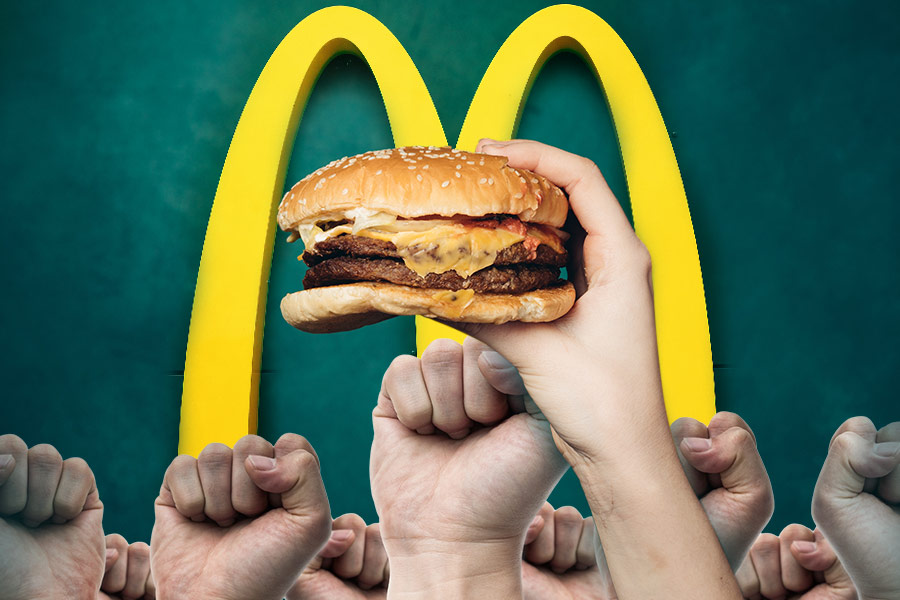 McDonald's UK workers stage strike with international allies