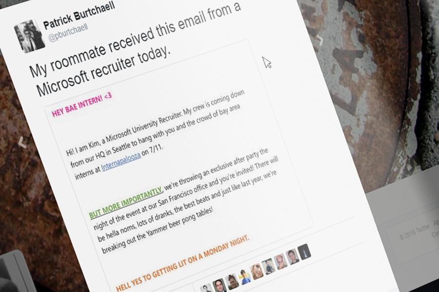 Microsoft recruiter slammed for cringeworthy email