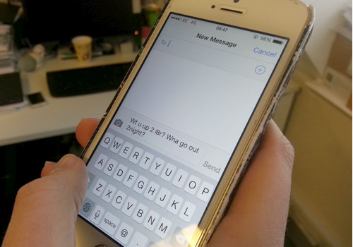 Young people using text speak in job applications