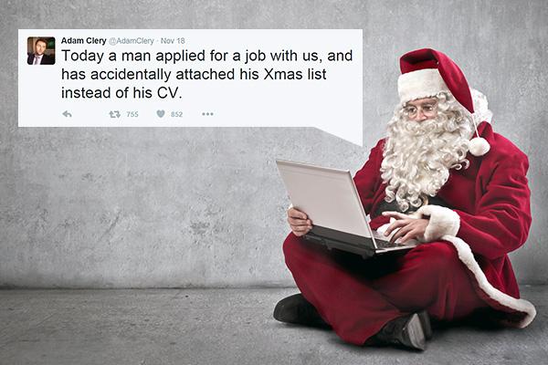 Twitter shame after man sends Xmas wish list instead of CV